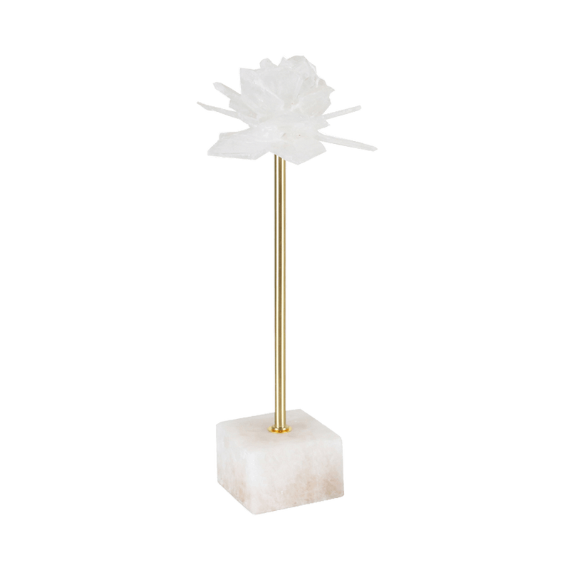Selenite crystal burst/flower on a gold stem & marble block | Luxury home decor - Perth WA