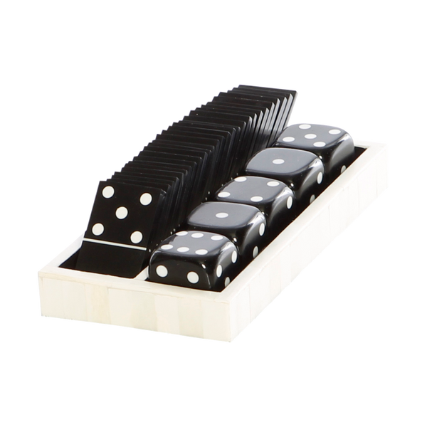 Black and Bone Domino Tray