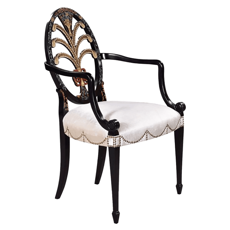 Side Chair Hepplewhite Oval Black with Arms