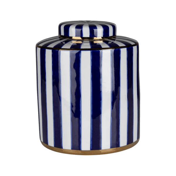 Blue and white striped ceramic jar with gold edging on the lid and base | Home decorative accessories, Perth WA