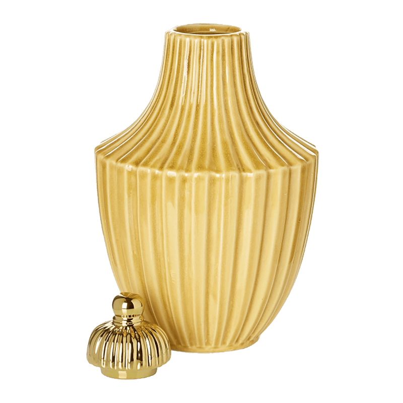 Moroccan style urn/jar | Mustard yellow with gold lid | Home Accessories, Perth WA