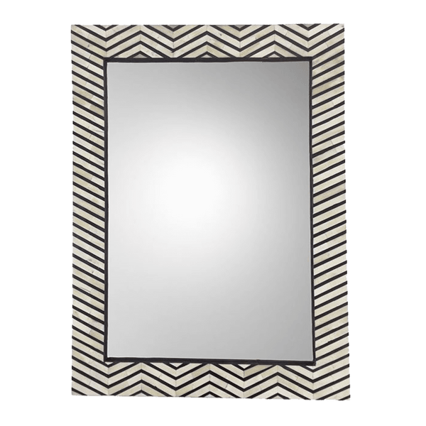 Rectangular mirror with a black and white zig-zag bone inlay patterning on the frame. | Home wares | Perth, WA.