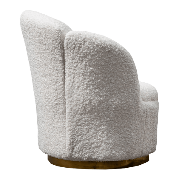 White wooly arm chair with brass base | Luxury arm chairs & seating, Perth WA