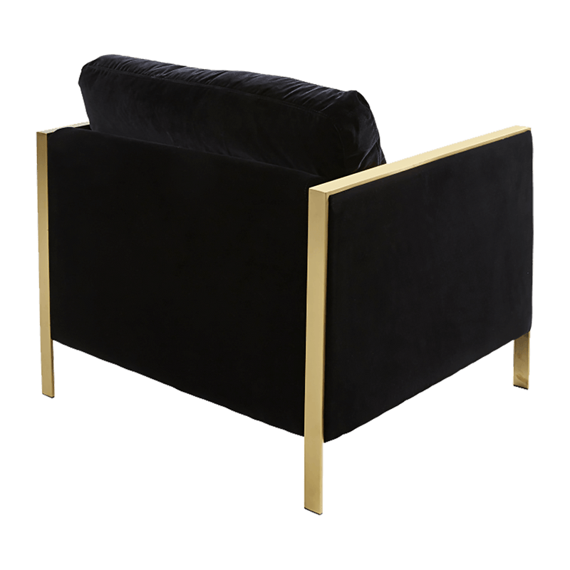 Gold & Black velvet square arm chair | Luxury arm & occasional chairs, seating Perth WA