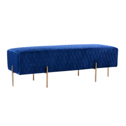 Stella Quilted Ottoman - French Navy