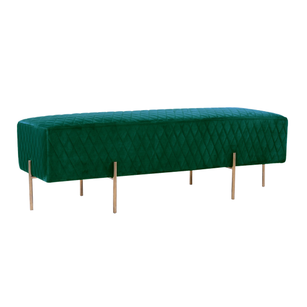 Stella Quilted Ottoman - Ivy Green