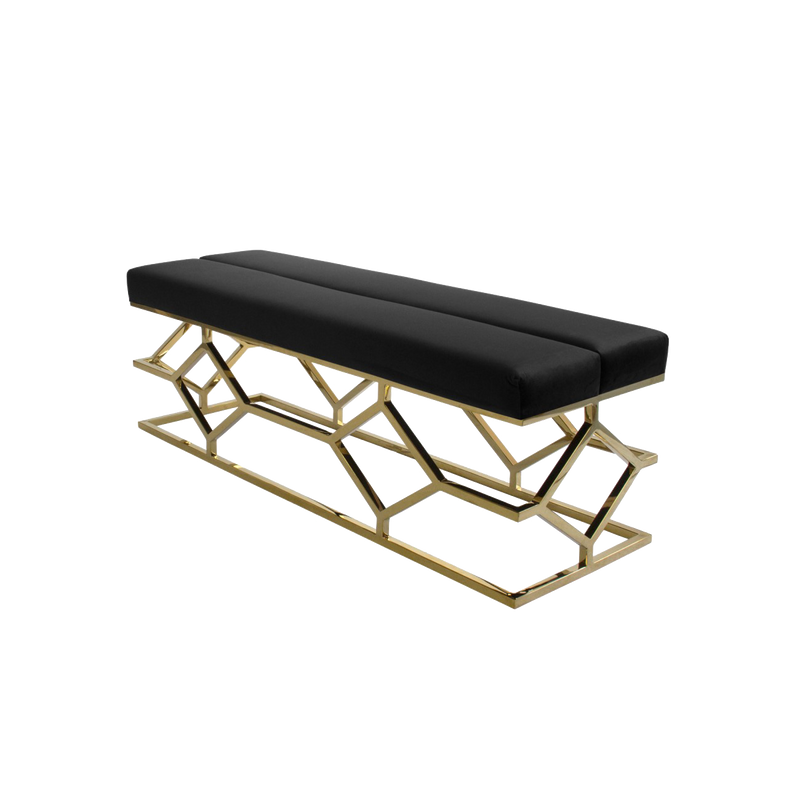 Lattice Black & Gold Velvet Bench