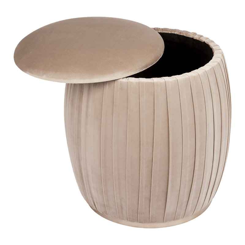Taupe / Champagne gold capsule storage stool | Ottomans, bench seats & stools, Perth WA
