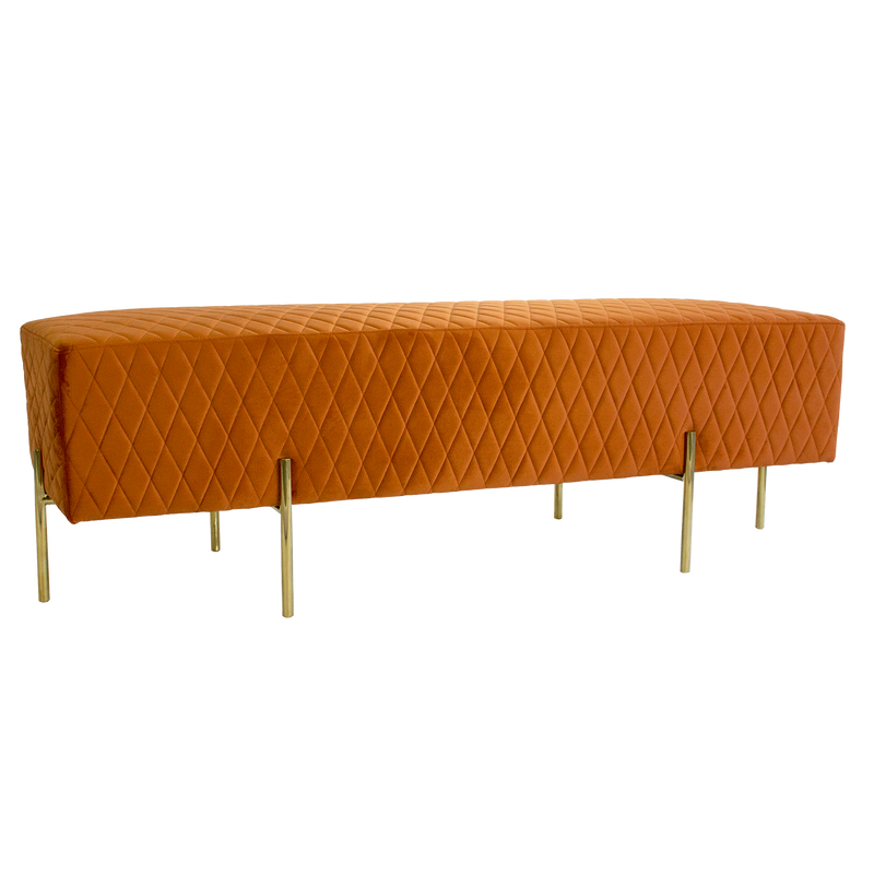 Stella Quilted Ottoman - Burnt Orange