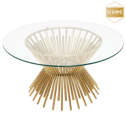 Art deco style coffee table in gold, with glass top | Luxury coffee tables, side tables and consoles - Perth, WA