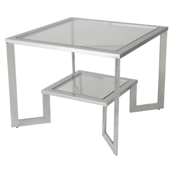 A silver square side table with tempered glass top and shelf. High polish finish on the frame | Side Tables, Coffee Tables and Occasional Tables, Perth WA