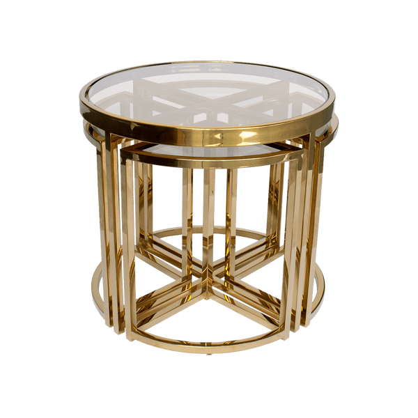 Perugia Nesting Side Tables, Gold & Clear Glass | Darcy & Duke, Perth WA