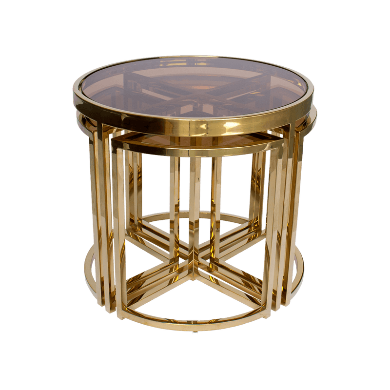 Perugia Nesting Side Tables | Gold & Tinted Glass | Luxury furniture, Perth WA