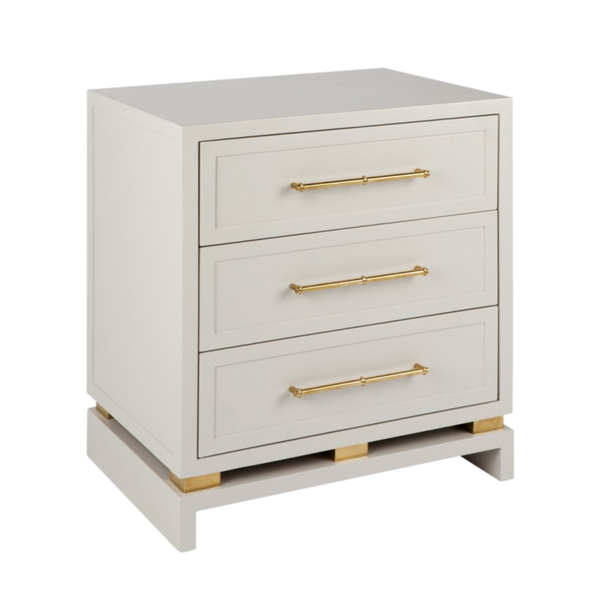 Cyason 3 Draw Bedside Table - White