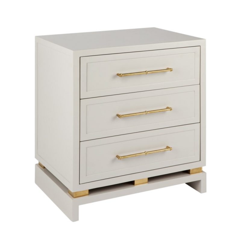 Cayson 3 Draw Bedside Table - White