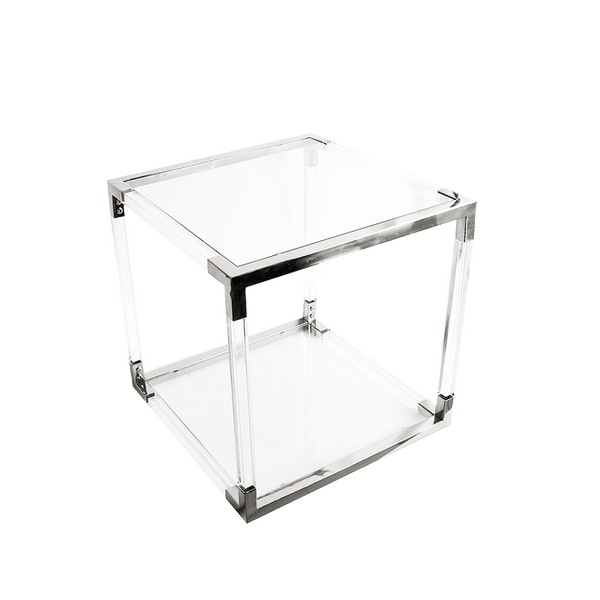 Acrylic cube side table with chrome/silver edges/joints | Side tables + Coffee tables Perth WA