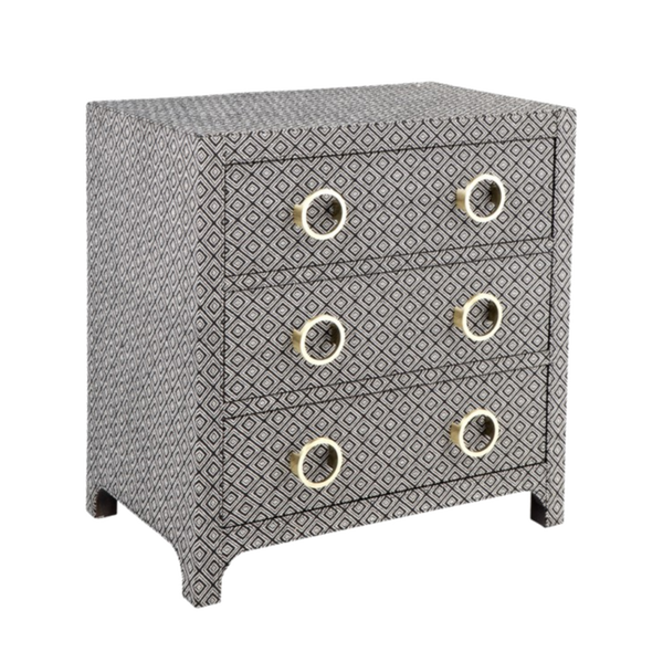 Rosetta Black and White Patterned 3 Drawer Bed Side Table
