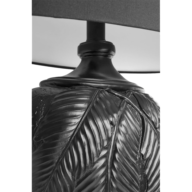 Matte black palm leaf motif table lamp with black linen shade | Table & Desk lamps, Perth WA