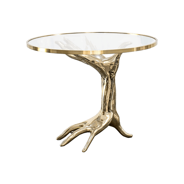 Chrome gold hand sculpture side table with clear table top | Perth WA