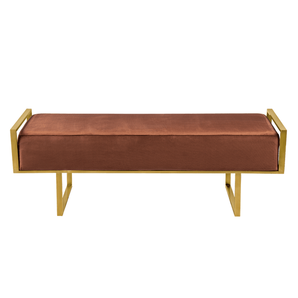 Velvet ottoman/bench seat with brushed gold frame | Luxury bed end - Perth WA