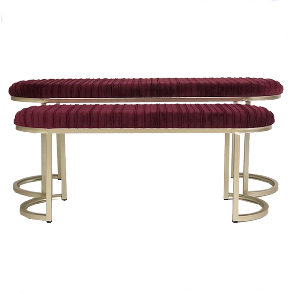 Set of 2 burgundy velvet ottoman bench seats | Luxury ottomans and stools - Perth, WA