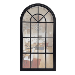 French Provincial Style Arch Window MIrror - Black | Homewares Perth WA