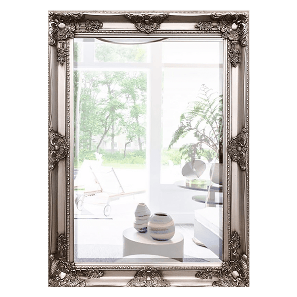 Antique look rectangular mirror with a brushed silver frame featuring French-style flourishes and detailing | Home wares & mirrors | Perth, WA.