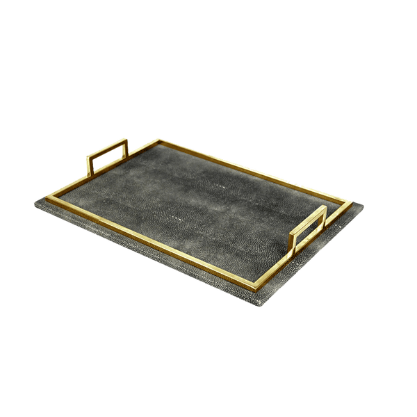 Black leather tray with gold frame & handles | Serving trays, serveware - Perth WA