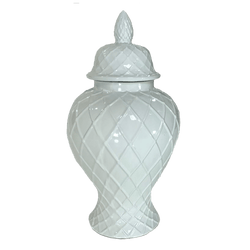 White ceramic temple jar with lattice patterning | Decorative Home Accessories Perth WA