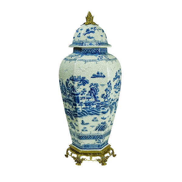 Oriental style porcelain & bronze jar | Decorative home accessories - Perth WA