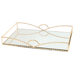 Twisted gold framed tray with mirror base | Decorative accessories - Perth WA