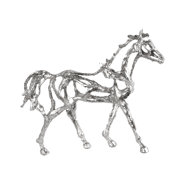 Abstract silver metal horse statue | Luxury home accessories & decor - Perth WA