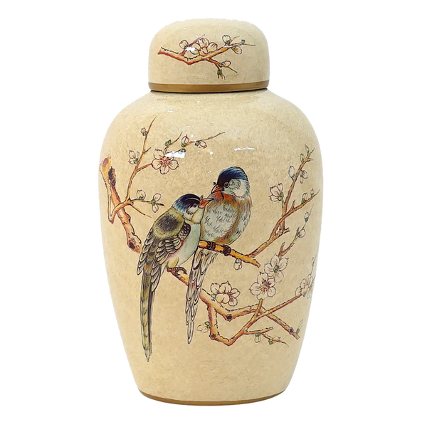 Large beige ceramic jar with bird, branch and blossom detailing | Luxury decorative accessories - Perth, WA