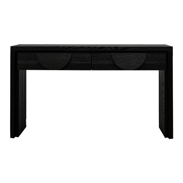 Console Table textured ebony black | Halfmoon handles - Luxury consoles & buffets - Perth WA