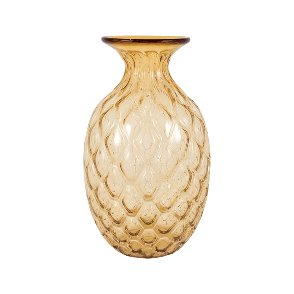 Byron Amber Glass Ribbed Vase