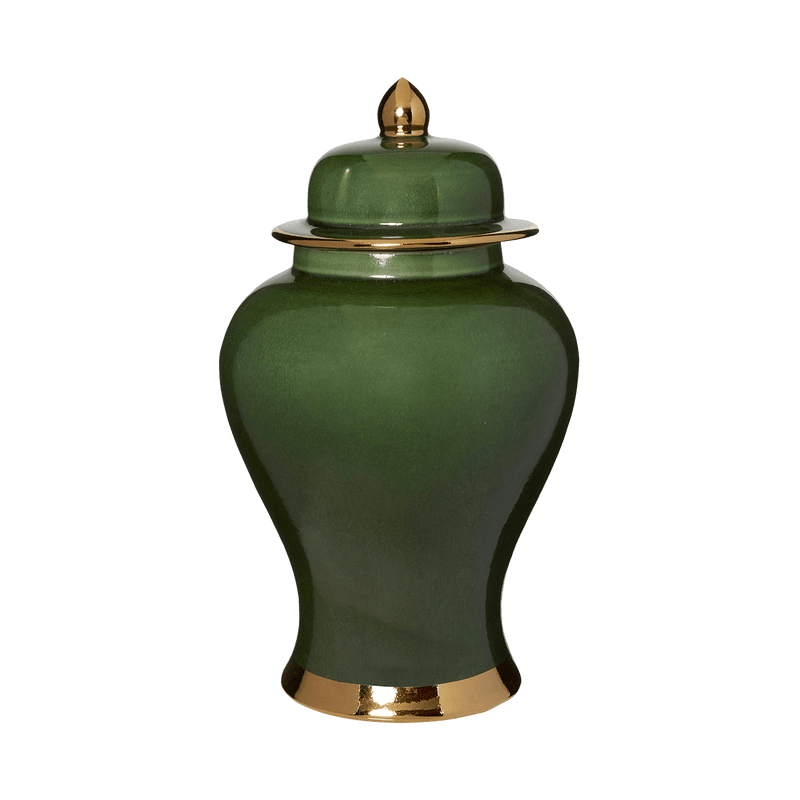 Jade green porcelain temple jar with gold edging on the lid and base | Chinese ceramics & home decor Perth WA