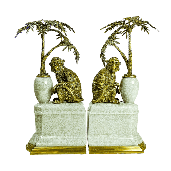 Bombay Bronze & Gold Monkey Bookends | Decorative home accessories - Perth WA