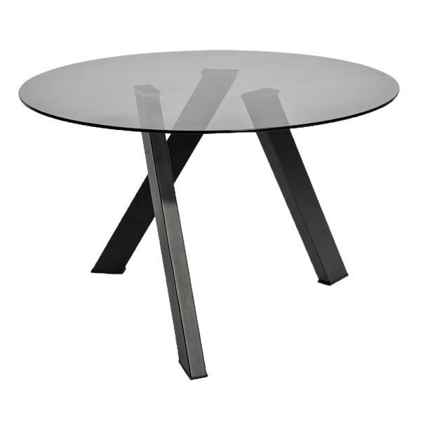 CDT2234-EI 1.2m Dining Table - Smoke Grey Glass - Black Base
