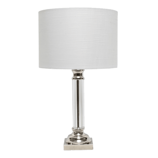 A glass pillar table lamp with silver base and white linen lamp shade | Lighting & furnishings | Perth, WA