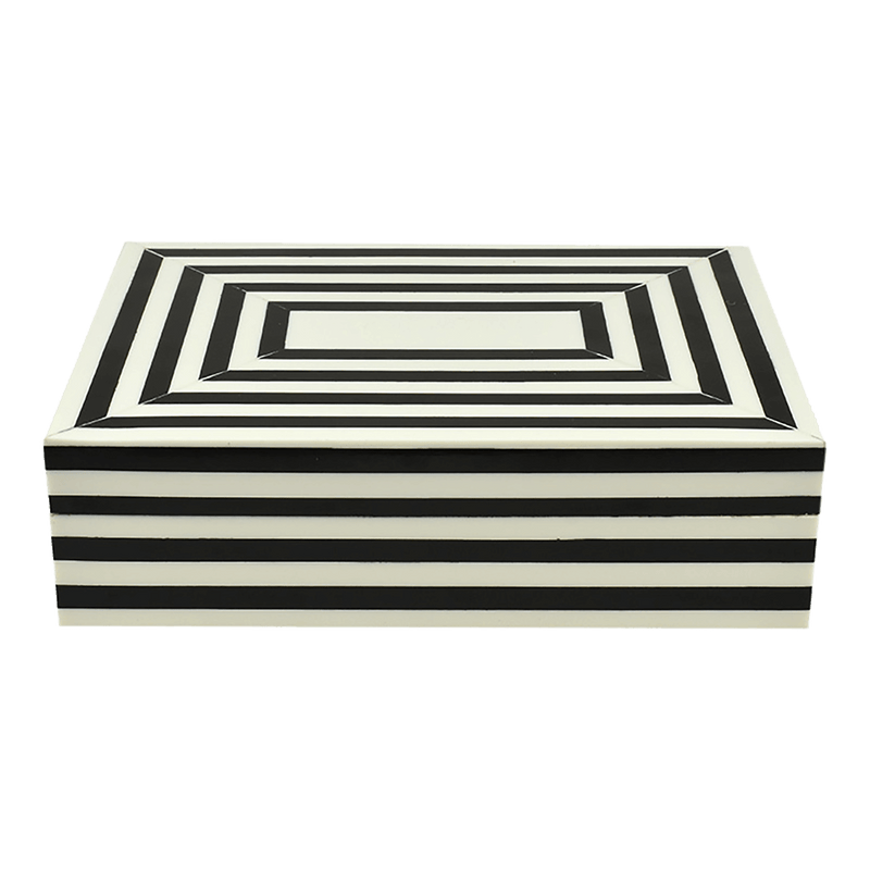 Black and white striped wooden box with resin finish | Decorative home accessories and small storage - Perth WA