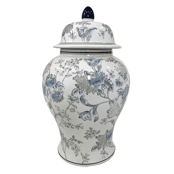 White ceramic, oriental, temple jar with blue floral detailing | Luxury temple & ginger jars - Perth, WA