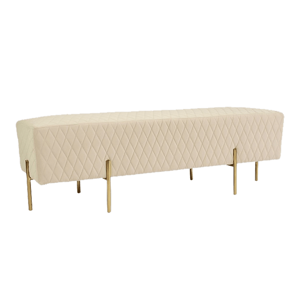 Stella Quilted Velvet Ottoman/bench seat with gold base | Luxury Furniture | Perth, WA