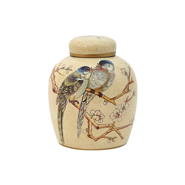 Small beige ceramic ginger jar with bird, branch and blossom detailing | Luxury decorative accessories - Perth, WA