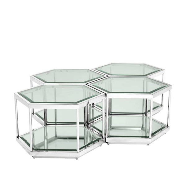 Silver hexagon shaped coffee table set | Side tables & Coffee tables Perth WA