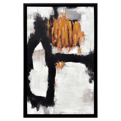 Abstract art piece in black, white & copper tones | Out of Danger - framed artwork Perth WA