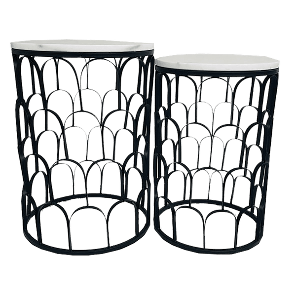 Set of 2 round side tables, black scalloped metal frame with white marble top | Side tables & coffee tables - Perth, WA