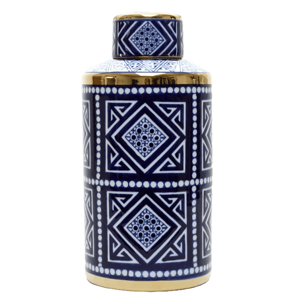 Tall cylindrical temple jar with blue and white Aztec patterning and gold detailing | Temple jars, ginger jars, canister - Perth, WA