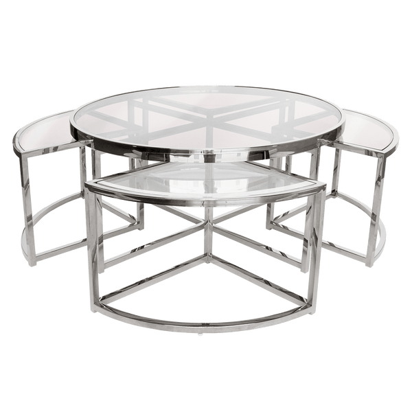 Round silver coffee table 5 piece set | High end coffee & side tables - Perth WA