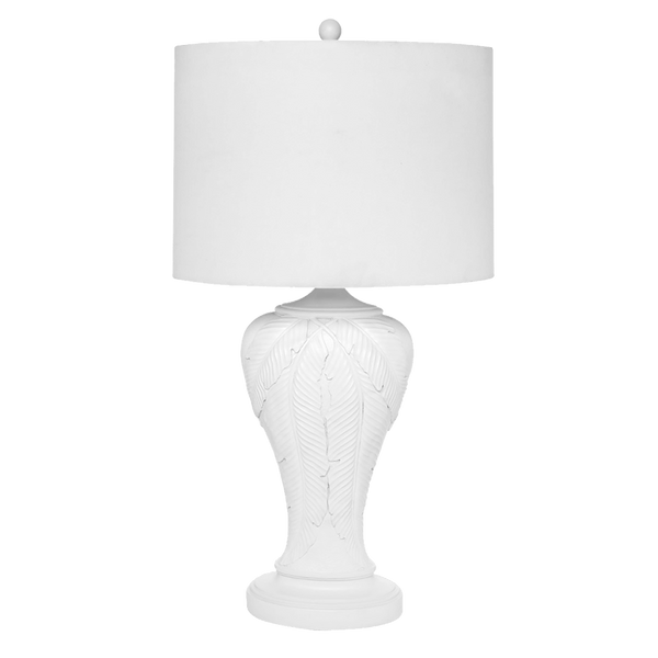 White palm leaf motif table lamp with white linen shade | Table & desk lamps, Perth WA