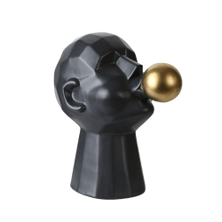 Sculpture of a persons head blowing a gold bubble, black | Statues & art - Perth WA